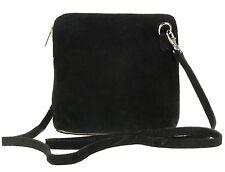Womens Genuine Suede Small ZIPPED Cross Body Shoulder Bag Real Italian DESIGNER Black