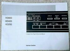 New listing Harman / Kardon Hd200 Hd400 Hd800 Cd Player Owner'S / Instruction Manual