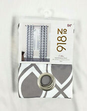 """No 918 Grey & White Cullen Grommet-Top Curtain Panel, 40""""x84"""""""