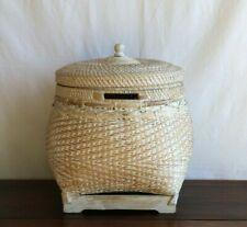 Basket with lid & handles, handmade, rattan, storage, decorative, planter, decor