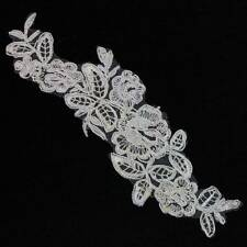 1 IVORY/CREAM LACE APPLIQUE WITH SILVER TRIM  230mm X 75mm SEW ON MOTIFS  HL1151