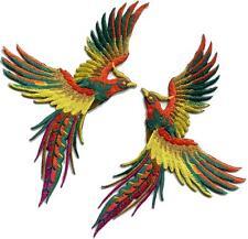 Phoenix phenix birds orange yellow green embr. appliques iron-on patches S-1331