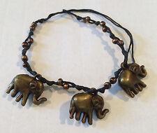 Handmade 3 Elephants Bronze Friendship Bracelet or Anklet Brand New!
