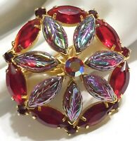 Vintage Blue Red Purple Molded Carnival Glass Cabochon Rhinestone Brooch Pin