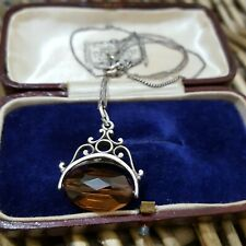 """VINTAGE SOLID SILVER NECKLACE, SPINNING PENDANT, BROWN PASTE, 18"""" CHAIN"""