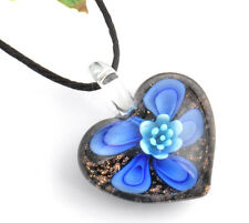 1pc flower love heart Lampwork Glass bead pendant Necklace p867_5