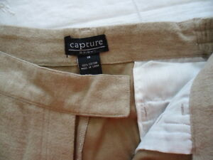 BRAND NEW SIZE 18 WOMENS BEIGE COTTON FLANNEL CAPTURE JEANS ELASTIC SIDE WAIST
