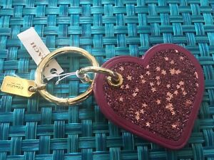 Coach Star GLITTER HEART Key Fob Chain 56747 Bag Charm $70 sale