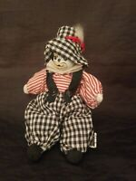Vintage Porcelain Head Clown Doll-Sand Filled Hand Painted Face Check Outfit