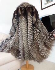 Real fur silver fox long coat size L UK 14-16-18
