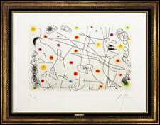 Joan Miro Strip Tease Hand Signed Color Aquatint Modern Portrait Illustration