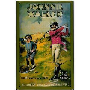 Johnnie Walker Scotch Whisky en Relief (3D) Métal Publicité Signe 30x20cm Golf
