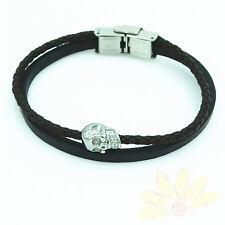 8.2''Biker Stainless Steel Wristband Bracelet Man Woman Leather Silver Skull