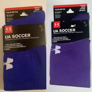 (2) Under Armour Soccer Performance OTC Socks, Blue & Purple, Youth Large, NWT