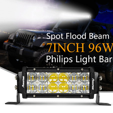 7INCH 96 Philips LED Work Light Bar Spot Flood Offroad 4WD SUV Fog DRL UTE Lamp