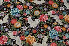 Patchworkstoff  Japanische Blüten und Vögel 50x110cm  schwarz 100% Baumwolle