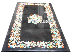 Black Marble Dining Table Top & FREE Coffee Inlay Carnelian Stone Arts