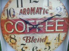 RUSTIC KITCHEN COFFEE ROUND WALL CLOCK