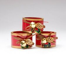 Set of 3 Lenox Christmas Red & Gold Tone Jingle Bell & Pine Cone Napkin Rings