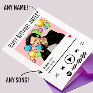 Personalised HARRY STYLES Favourite Song Spotify Birthday Card Daughter Sister