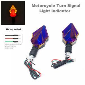 2PC Motorcycle Scooter Bike LED Turn Signal Light Indicator DRL Rear Brake Light