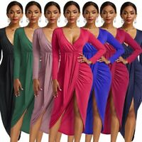 Womens Party Ladies V-neck Maxi Long Dress long sleeve Summer Bodycon dress Sexy