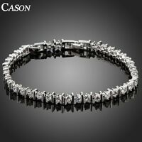 Women Wedding Austrian Crystal Tennis Links Bracelet  White Gold Plated Jewelry