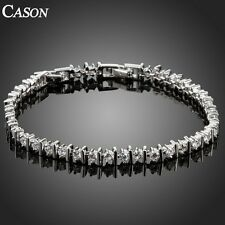 Women Wedding Austrian Crystal Tennis Links Bracelet  White Gold Plated Jewelry
