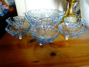 Vintage pretty blue glass serving bowl and set of 6 matching sundae dishes