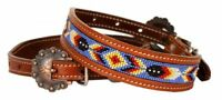 Showman Couture Beaded inlay leather dog collar with copper buckle. NEW!