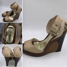 🌟Dune Retro Style Size 6 39 Brown & Nude Leather Wedge Heel Ankle Strap Sandals