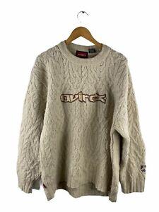 VINTAGE Avirex Wool Blend Cable Knit Jumper Mens Size 2XL Beige Long Sleeve Logo