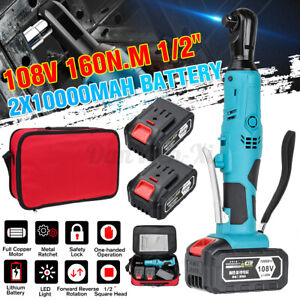 160Nm 108V 1/2'' Electric Cordless Right Ratchet 90º Angle Wrench + 2x Batteries