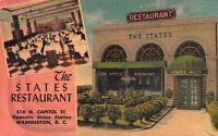 The States Restaurant, Washington, D.C., Early Linen Postcard, Unused
