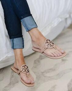 Tory Burch Miller Leather Logo Flat Sandals Light Makeup Color Size 12