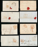 GB QV 1844-51 LONDON PAID VARIOUS TYPES + NORFOLK BRIXTON HILL etc 4 ITEMS