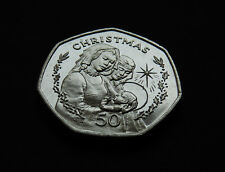 GIBRALTAR 50p FIFTY PENCE 1990 BB XMAS MADONNA AND CHILD 50 COIN CHRISTMAS