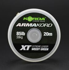 KORDA ARMAKORD XT 20 m 85 LB Weedy Green Extreme Leader Carp Coarse Fishing Line