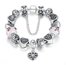 Top European Charm Silver Bracelets with Murano Glasses For Women Birthday 20cm
