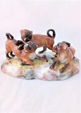 Antique Meissen Porcelain Pug Dogs Figure Group F186 c 1880