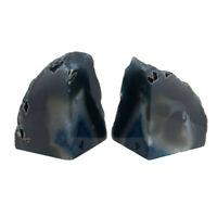 Zeckos Polished Blue Brazilian Agate Geode Bookends 4-7 Pounds