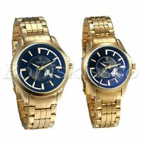 Men's Women's Couples Luxury Gold Tone Calendar Date Display Quartz Wrist Watch