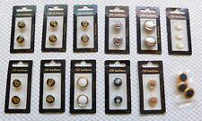Lot 12 Packs Dill 24K Gold Plate Shank Buttons Enamel Plastic Rhinestone Vintage