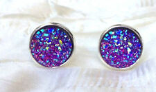 SPARKLING DRUZY RESIN PURPLE ROUND SILVER CLIP ON EARRINGS 12MM