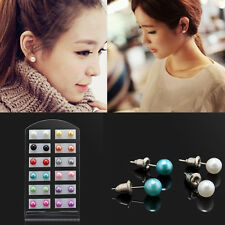 12 Pairs OL Style Chic Party 6MM Pearl Round Ear Stud Earring Display Stand Gift