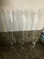 "Vintage Pilsner Drinking Glasses Etched 7.5"" Height Clear Beer Glass Set of 4"