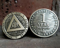 AA 1 YEAR /ONE YEAR RECOVERY chip BRONZE coin 1 YEAR Sobriety ONE DAY AT A TIME