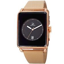 New Men's Joshua & Sons JS95RGTN Quartz Rectangular Date Tan Leather Watch
