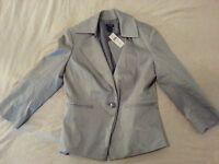 Womens New Ann Taylor Jacket Blazer 8 Gray