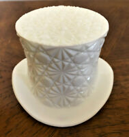 Vintage INDIANA GLASS Daisy Button Pattern White Milk Glass Top Hat